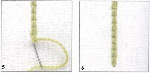 Вышивка Тамбурный шов Chain